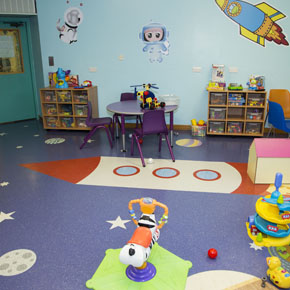 The space-themed flooring design installed at the Nightingale Children's Ward
