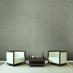 Modern interior with two armchairs near empty brown wall.