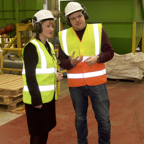 Rebecca Long Bailey MP with Steve Bell at Axion Polymers' Salford site