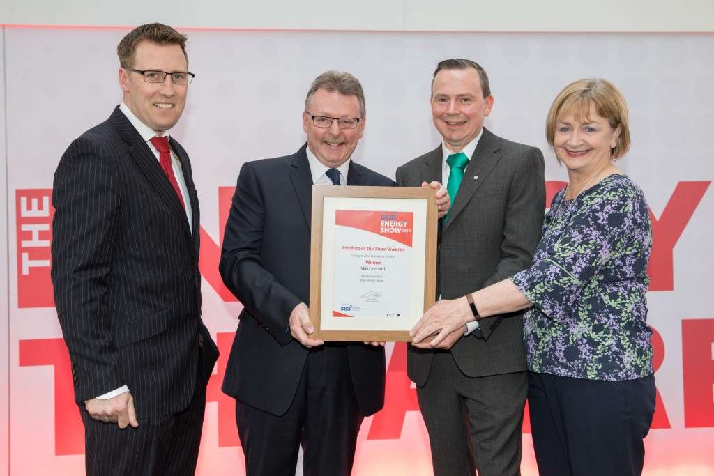 19-4-18 Picture shows Winners of the Best Innovative Product at the SEAI Energy show from left ; member of judging panel David Doherty; winners Derek Elton; and Michael O'Herlihy of Wilo Ireland ; Majella Kelleher, SEAI .Pic:Naoise Culhane-no fee