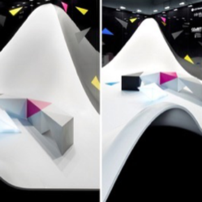 L-R: The HI-MACS® Reception Desk, benches & Lightbox, and dramatic thermoformed curve.
