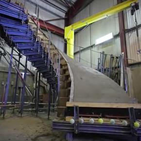 Off-site concrete staircase construction