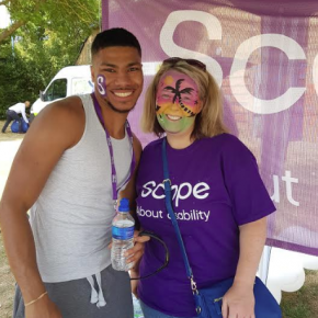 Siraaj Kassim and Jackie Devine at the REHAU stand supporting Scope