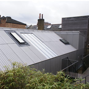 The Yard, as featured on Grand Designs, which uses Cembrit's B5 corrugated fibre-cement sheeting