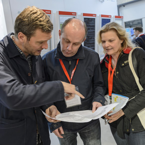 Architect and TV presenter Charlie Luxton chats about daylight and design with Rob Spick and Jan Hanrahan on the VELUX stand at The Homebuilding & Renovating Show at the NEC in Birmingham.