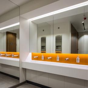 Washroom Corian vanity trough