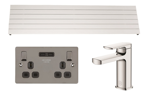 Screwfix summer catalogue (Top: Ximax Oceanus Universal Designer Radiator; Left: LAP 13A 2G SP Switched Socket + 3.1A 2G USB Charger; Right: Watersmith Heritage Clyde Basin Mono Mixer Tap)