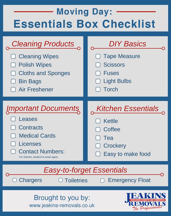 Moving day: essentials box checklist