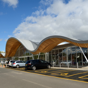 The 'leaf-shaped' porch at Redfields garden centre, achieved using Protan's single ply membrane