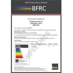 BFRC Homeowner energy efficiency certificate