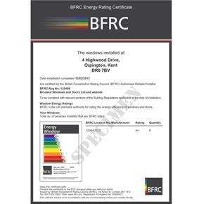 BFRC Homeowner energy efficiency certificate