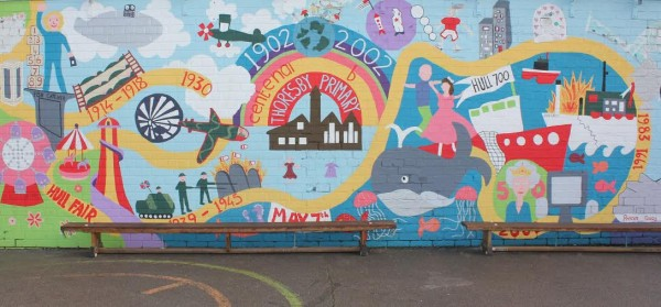 14122017Thoresby Primary school , Hull thank Ellis Mudd of Crown Paints for the donation of paint to refurbish the Mural in the school playground.Photos by Richard Addison